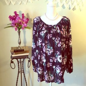 CHAPS floral long sleeve blouse, size 1x